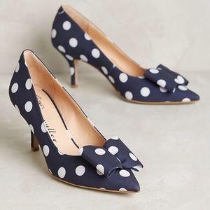 Bettye Muller Attache Navy Blue Polka Dot Heels